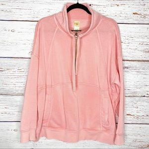 Tangerine Mineral Wash 1/4 zip coral pullover.